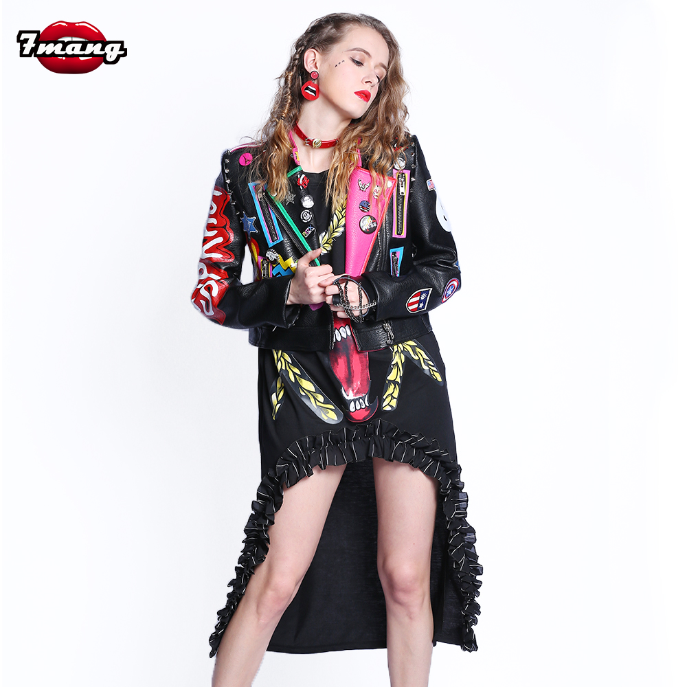 2018 Fashion Autumn Women Punk Heavy Metal Street Short   Leather   Jacket Black Zipper Rivet Long Sleeve Motorcycle Coat