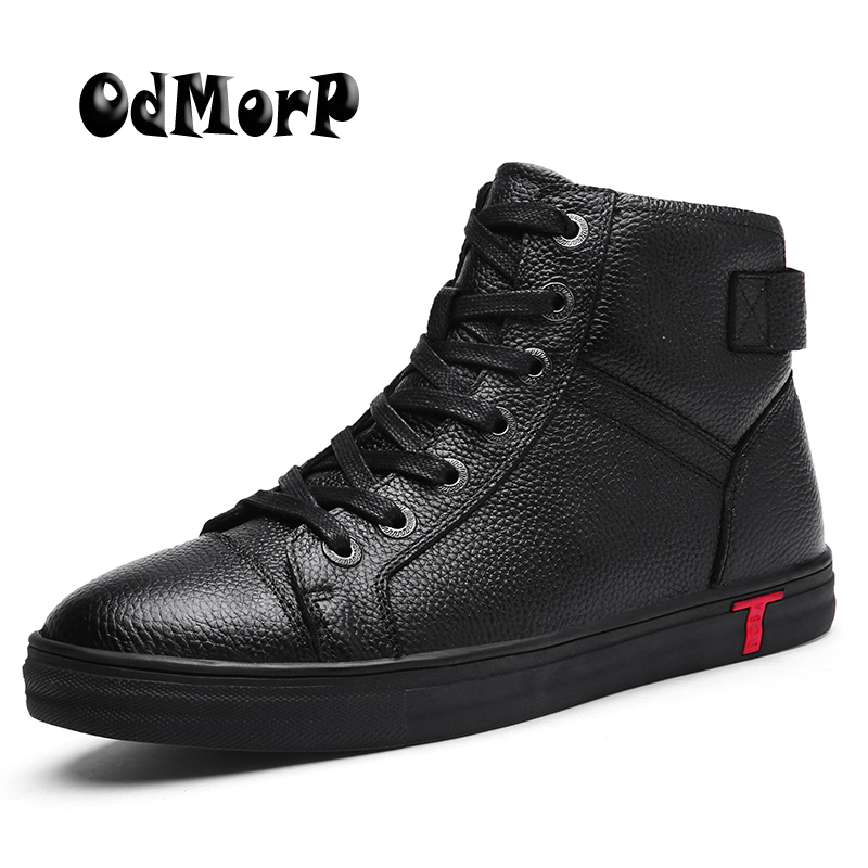 ODMORP Men Boots Plus Size 38-48 Black Leather Boots Keep Warm Fur Winter Shoes Lace Up Fashion Ankle Snow Boots Men iahead men boots genuine leather flats new casual shoes lace up warm winter boots men plus size 38 48 rain shoes men mh586