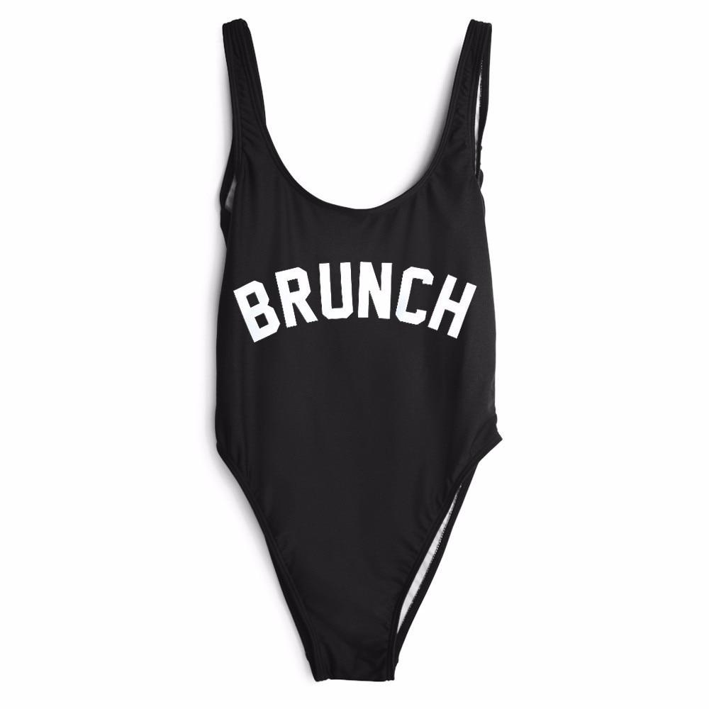 Women Fashion Clothing Jumpsuit BRUNCH Letter print one piece Swimwear Bodysuit low back  suits jumpsuit free shipping