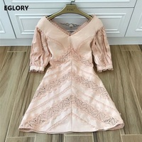 Crochet Lace Embroidery Luxurious Women's Dress Spring Summer 2018 High Quality Ladies V Neck Half Sleeve Slim Party Vestidos