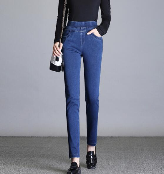 Otoño Moda Tamaño Más Mujeres Elástico Casual Algodón Denim Jeans Azul Mezcla Primavera Nueva Cintura Capris Hdl0811 Lápiz Pantalones qd6wpqg