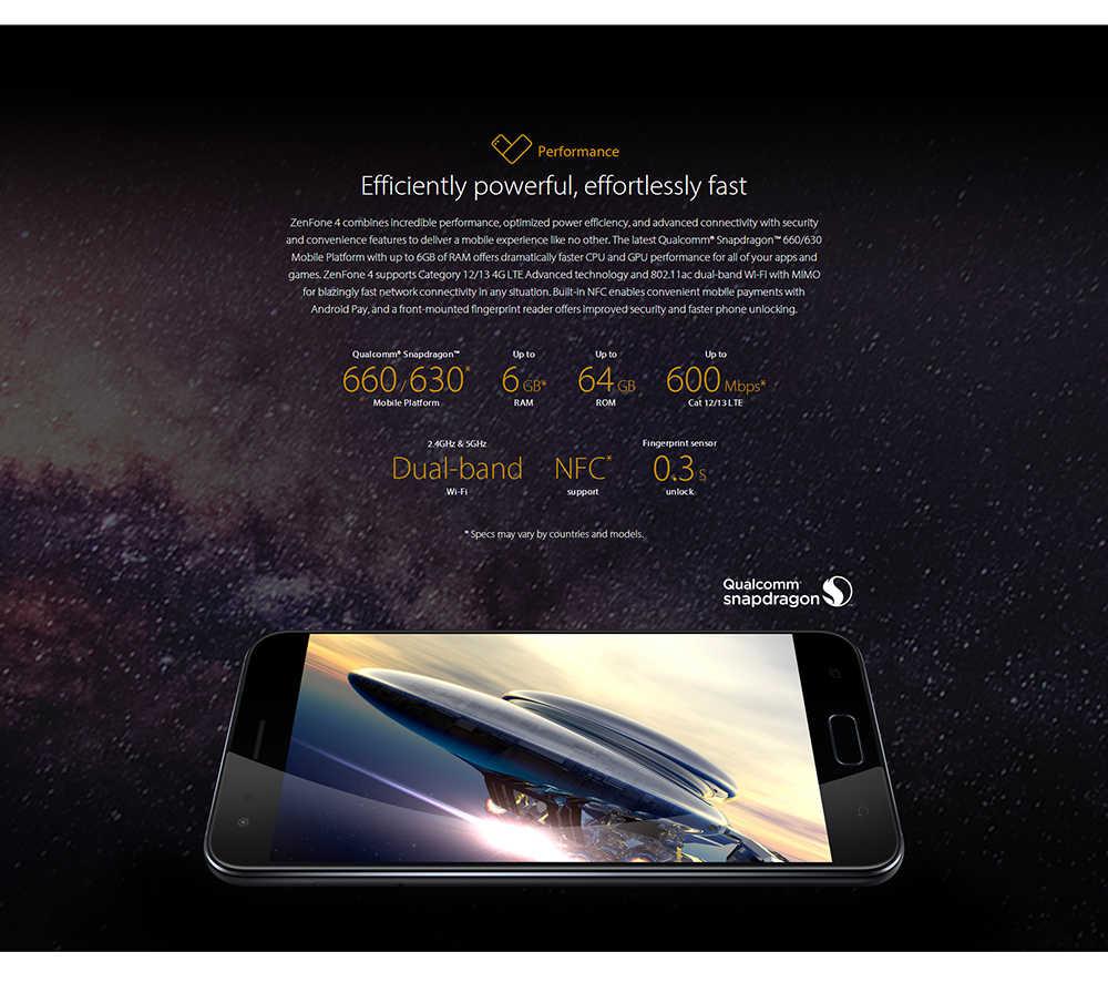 ASUS Zenfone 4 ZE554KL Octa Core Snapdragon 630 4GB RAM 64GB ROM Android 7.1.1 5,5 pulgadas FHD pantalla teléfono móvil NFC 5V2A de 3300mAh