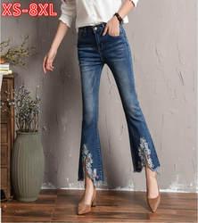 2018 Демисезонный Вышивка джинсы Для женщин Ленточки Брюки Высокая Талия джинсовые Мотобрюки STRETCH SLIM порванные джинсы большой Размеры 8xl