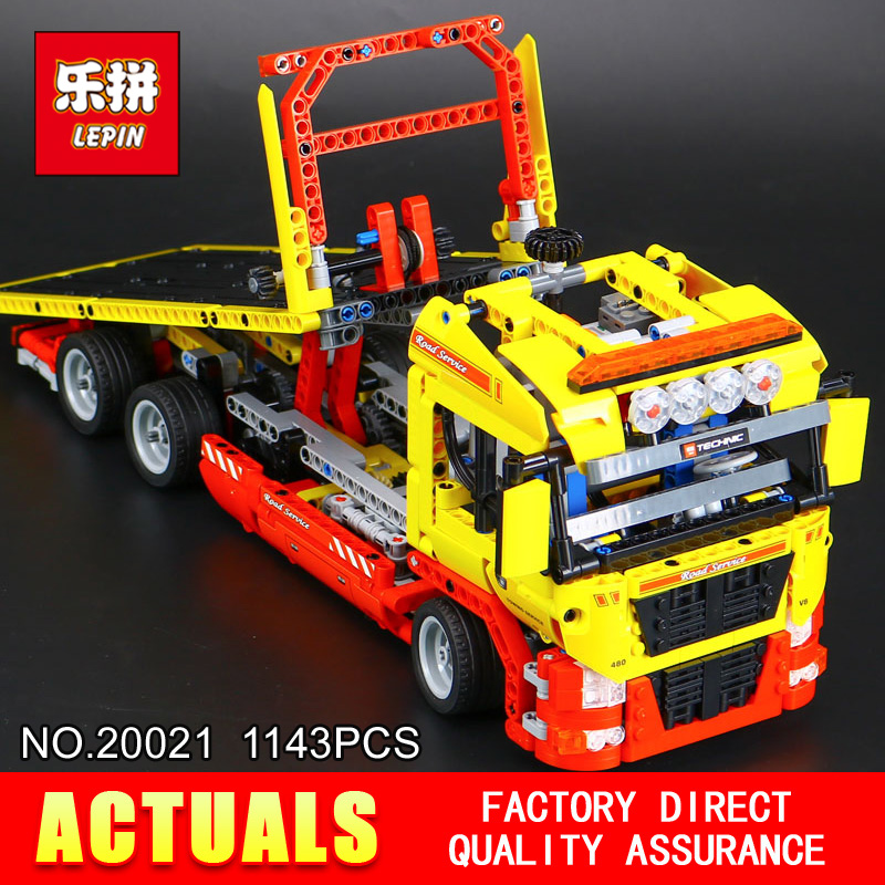 New LEPIN 20021 technic series 1143pcs Flatbed trailer Model Building blocks Bricks Compatible Toy Gift Educational Car 8190 in stock new lepin 21009 fxx 1 17 toy building blocks 632pcs technic racing sports car supercar model boy gift compatible 8156