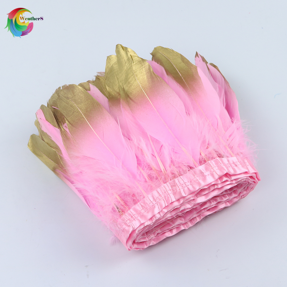 wholesale Pink Dipped gold Goose feather trimming Height 15-20cm feather ribbon Wedding decoration Skirt Accessories plume