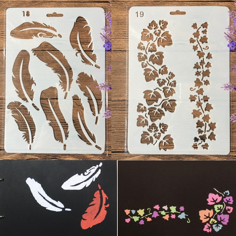 2Pcs 27cm Feather Leaves DIY Craft Layering Stencils Painting Scrapbooking Stamping Embossing Album Paper Template