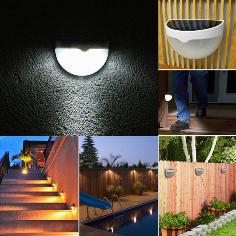 2017 Outdoor Wall Fence Garden Light Control Solar Powered LED Lamp Light youoklight 0 5w 3 led white light mini waterproof solar powered fence garden lamp black