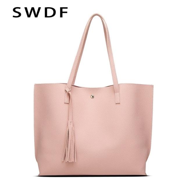 Well known SWDF 2017 Brand Large Capacity PU Leather Handbags Tassel Women's  XI44