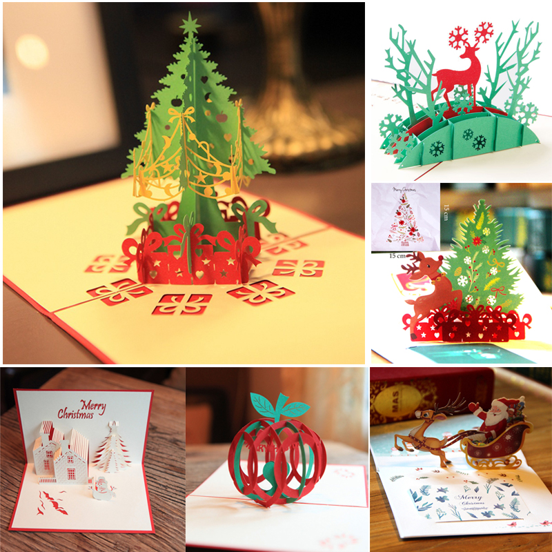 2019 Merry Christmas 3D Pop Up Cards Handmade Postcards