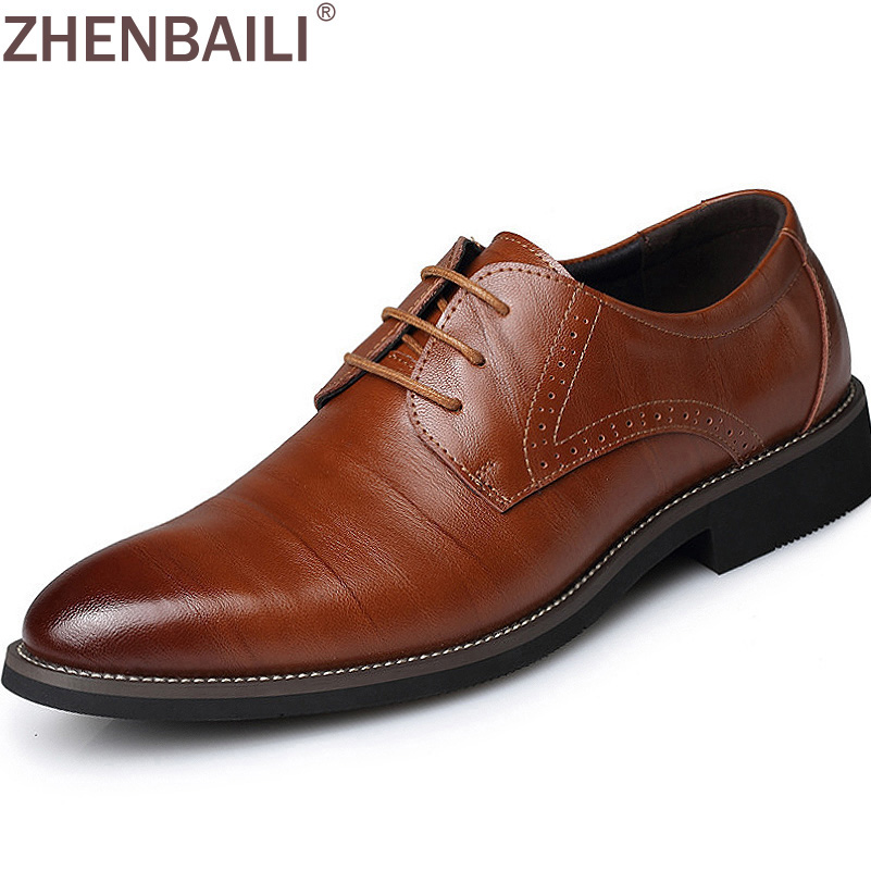 Plus Size 38-45 Men Leather Dress Shoes 2017 Fashion Wedding Shoes Breathable Business Shoes Lace-up Flat Shoe Mens Oxfords Hot