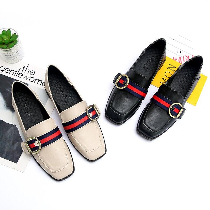 Cremulen Med Heels Loafers Single-Shoes Buckle Square Toe Women Metal Stripe Shallow