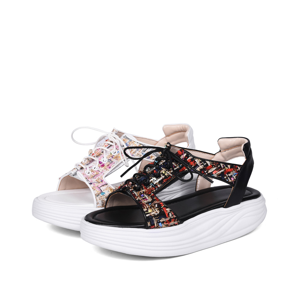 Sandali nera Summer Asumer plateau con donna Shoes casual piatta pelle Arrive Fashion bianca Black Stringate New White donna in 1Hn0U