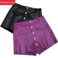 Черный фиолетовый натуральная овчина шорты из натуральной кожи юбки 2018 сексуальные Клубные женские короткие с низкой талией Мини Короткая