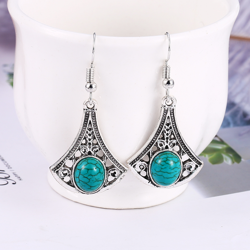 HOCOLE New Bohemia Stone Leaf  Drop Earrings For Women Vintage Natural Blue Color Fashion Dangle Earring Jewelry 2019