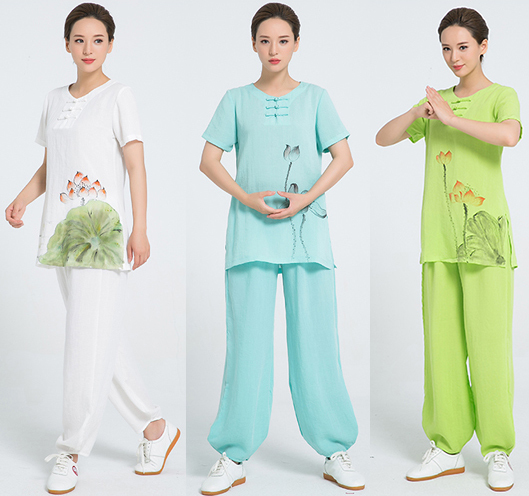 2018 New Product  Linen Kung Fu Clothes Hand Painted Short Sleeve Tai Chi Clothing Women Uniform 7 Colors