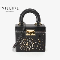 2018 vieline genuine leather Rive shoulder bag ,Independent designer brand real leather women box Bags, limited edition
