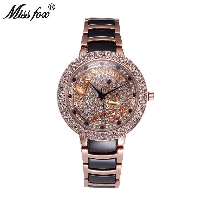 f82e433c145 Senhorita Fox O Cavalo Mulheres Relógios Relógio Feminino em Ouro Rosa Moda  Borboleta Diamante de Quartzo Preto de Cerâmica Relógio Relogio feminino em  ...