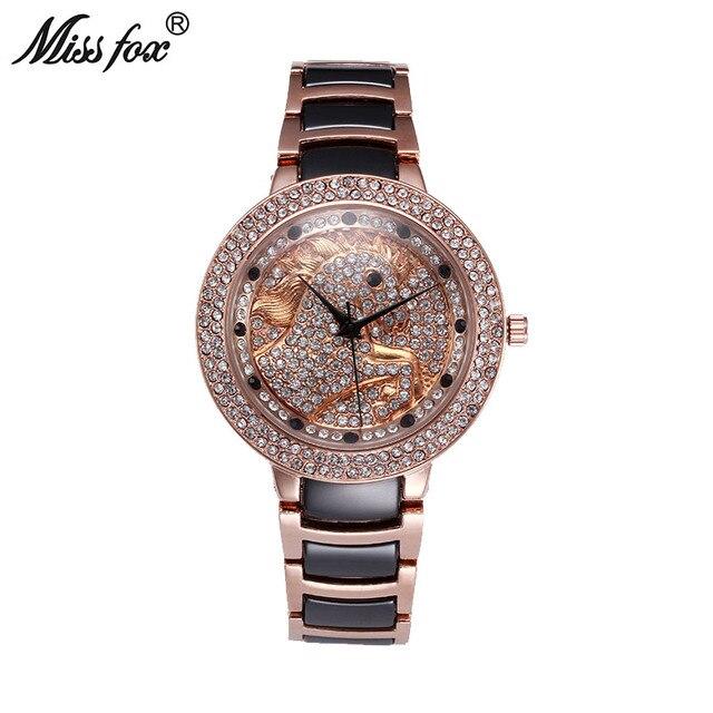 7a46f77e937 Senhorita Fox O Cavalo Mulheres Relógios Relógio Feminino em Ouro Rosa Moda  Borboleta Diamante de Quartzo