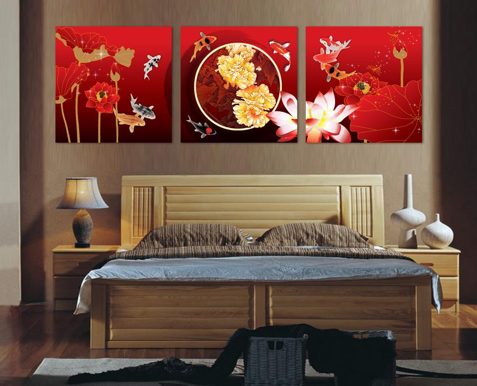3 piece canvas wall art red flower painting and art koi for Koi home decor