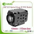 2.1MP FULL HD 1080 P Módulo de câmera IP PTZ 33X Zoom Óptico 4.6-152mm lente RS485/RS232 PELCO-D/PELCO-P suporte iluminação Baixa