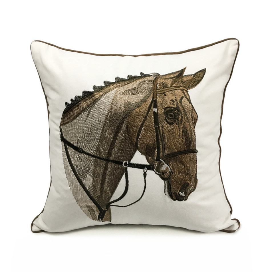 High Quality Embroidery Horse Designer Pillow Cover Sofa Cushion Cover Canvas Home Bed Decorative Case 45 X 45cm Sell By Piece