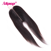 ALIPOP 2x6 Kim K Closure Brazilian Hair 2*6 Lace Closure Remy Hair Natural Color 8 18 Inch Swiss Lace 100% Human Hair Closure