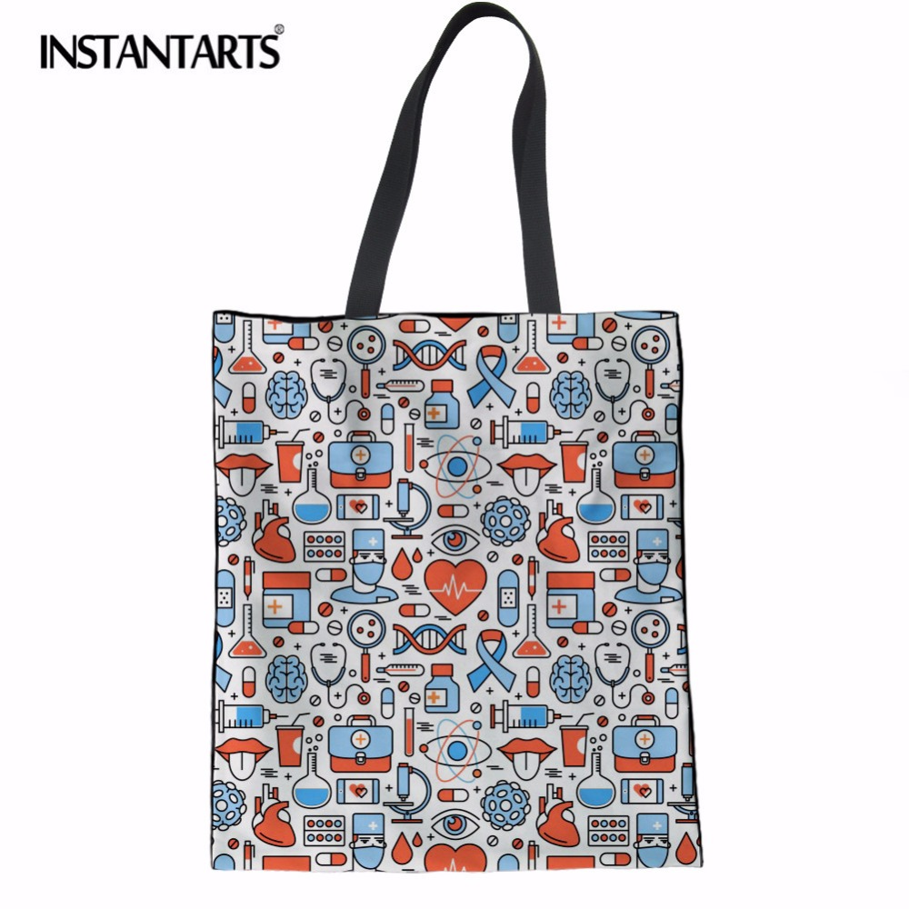 INSTANTARTS Durable Linen Shopping Bag Cartoon Nurse Design Casual Canvas Supermarkrt Cloth Pouch Resuable Folded Sholder Bag