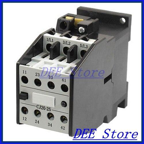 CJ20 25 3 Poles 3 Phase 2NO 2NC 25 Amp 24 Volts Motor Control AC Contactor