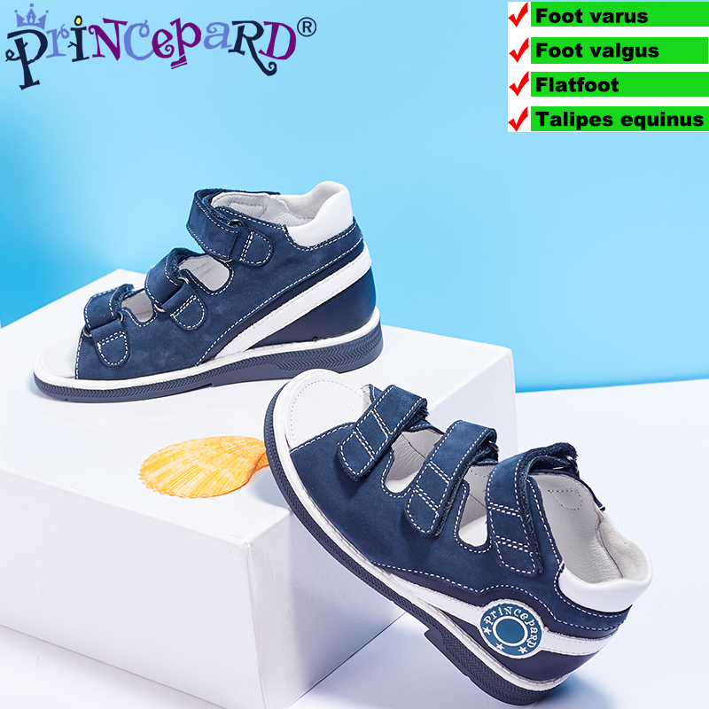 2018 Princepard orthpoedic shoes for boys kids summer orthopedic sandals navy genuine leather upper sandals for children|Sandals| |  - title=