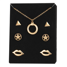 17KM 4 pcs/ set  2016 Fashion Alloy Necklace Earrings Gold Color Triangle Wedding Jewelry Set For Women Love Gift  Bijoux
