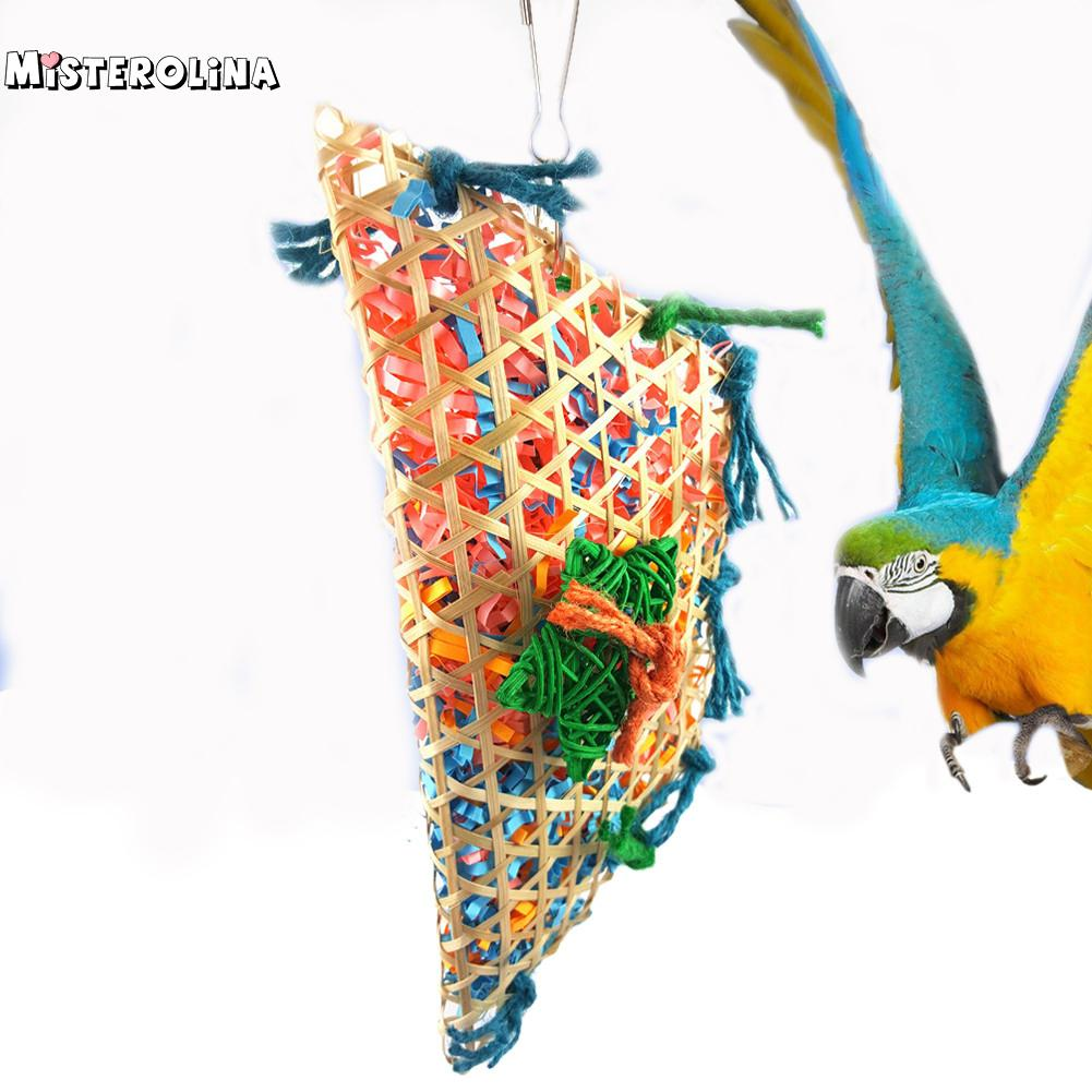Misterolina Grass Pet Bird Parrot Swing Cage Toy Foraging Toys Chew Bites For Parakeet Cockatiel Swing Cages Playing Toy Zyw4190