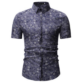 2019 Men Shirt Summer Style Palm Tree Print Beach Hawaiian Shirt Men Casual Short Sleeve Hawaii Shirt Chemise Homme 3XL 23 color 1