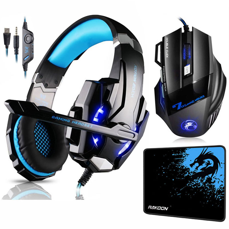 KOTION EACH G9000 Gaming Headset Deep Bass Stereo Headphones with Mic LED Light+7 Buttons 5500 DPI Gaming Mouse+Game Mouse Pad kotion each series gaming headset g2000 g2100 g2200 g4000 g9000 deep bass stereo headphones with mic 2 2m wired earphone for pc