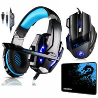 KOTION EACH G9000 Gaming Headset Deep Bass Stereo Headphones with Mic LED Light+7 Buttons 5500 DPI Gaming Mouse+Game Mouse Pad