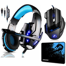 цена на KOTION EACH G9000 Gaming Headset Deep Bass Stereo Headphones with Mic LED Light+7 Buttons 5500 DPI Gaming Mouse+Game Mouse Pad
