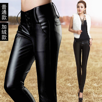 Fast Shipping Spring  New Large Size Women S Waist Was Thin Pu Leather Pants Plus -4xl P011