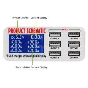 Image 3 - Di động sạc thông minh trạm 6 cổng sạc USB phẳng sạc du lịch LCD hiển thị kỹ thuật số di động dữ liệu thiết bị đầu cuối USB công cụ sạc