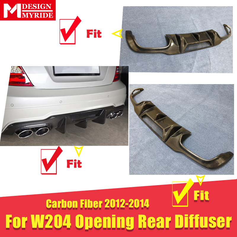 For 2012 2014 Mercedes Benz W204 C63AMG style Carbon fiber Rear bumper diffuser W Vent C class C180 C200 C250 C63 look Diffuser in Bumpers from Automobiles Motorcycles