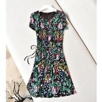 Шелковое платье Лето 100% шелк двойной марля шелковое платье воротник V