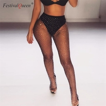 Shiny Crystal Rhinestones Fishnet Sexy Tunic Pants Women Long Bottoms Mesh Hollow Out Transparent Club Party Trousers