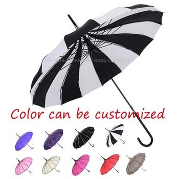 10PC Top Quality Creative Wedding Umbrella Sunny And Rainy Pagoda Umbrella Straight Rod with Color can be customized