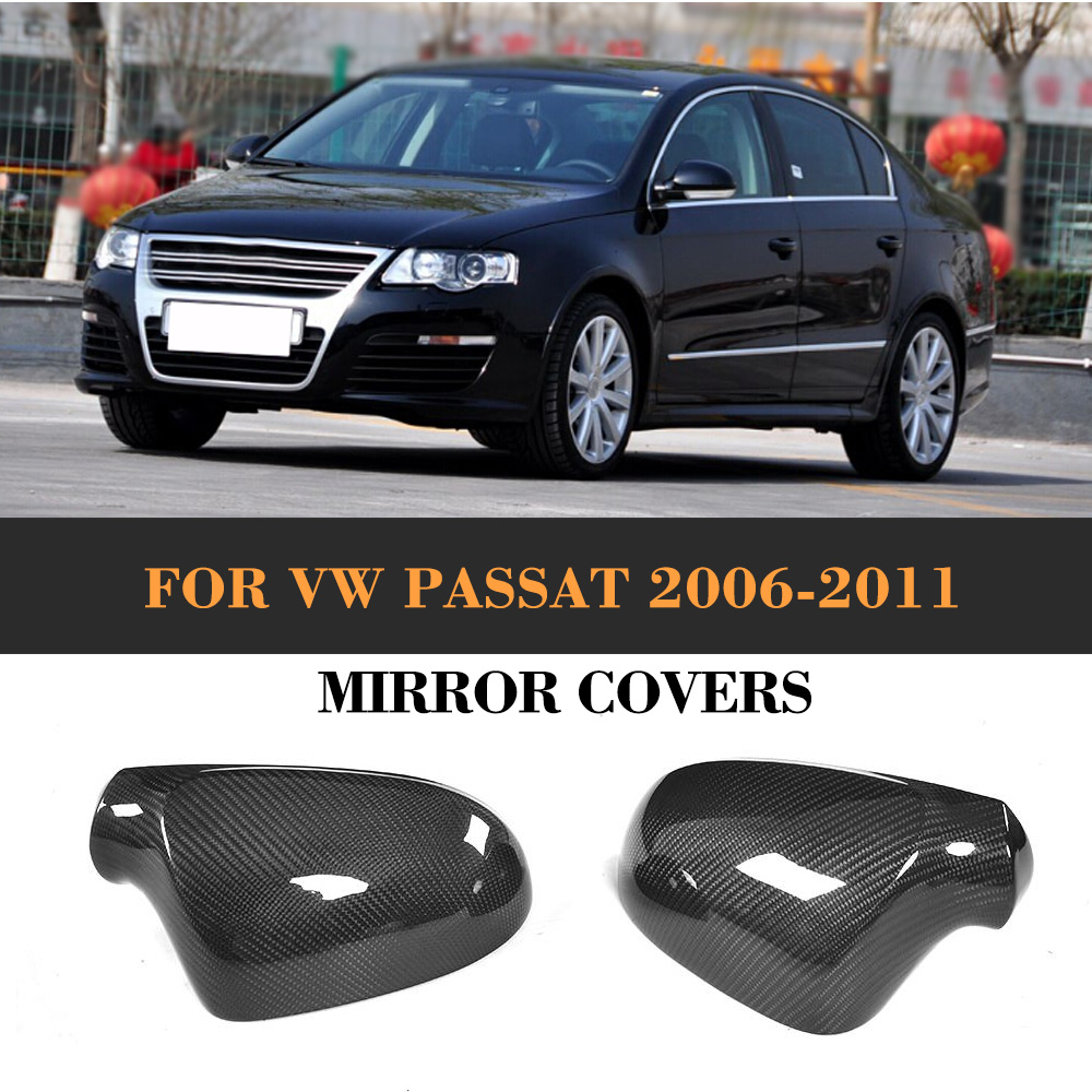 Carbon Fiber replacement Side Rearview Mirror Covers for Volkswagen VW Passat R36 2006-2011 without side lane assist hole abs mirror cover chrome matt painted cap side mirror housings for volkswagen jetta golf 5 passat b6 ct