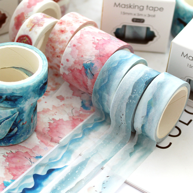 JIANWU 3pcs/set Theme Paper Tape Sakura Unicorn Decoration Washi Tape DIY Sticker Scrapbooking Diary Sticker School Supplies