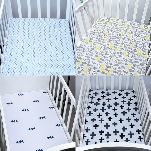 fac6929b5b01 Baby Bed Fitted Sheet Knitting 100% Cotton 11 Colors Crib Triangle Design  Bedding Protector Cover For Baby Girl Boys 130 70cm