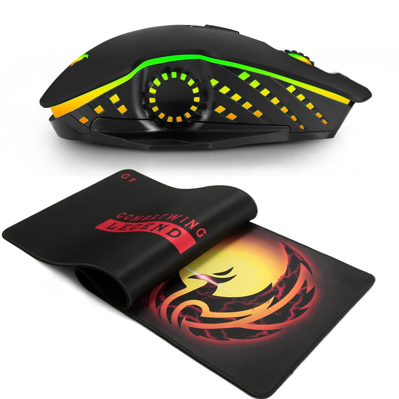 Souris de jeu PC 2.4G connexion USB sans fil double mode 6000 DPI optique ergonomie LOL Dota 2 PUBG souris gamer avec tapis de souris