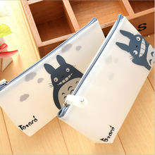 Kawaii Totoro translucent PU Pencil Case Storage Organizer Pen Bags Pouch Pencil Bag Pencilcase School Supply Stationery(China)