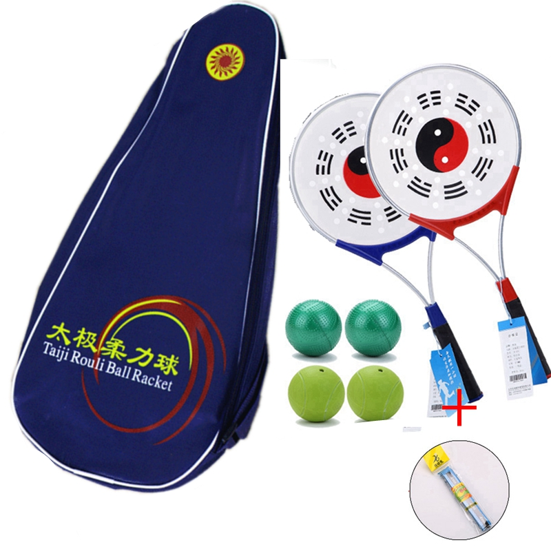 8 balles + 4 raquettes + 2 sacs chinois taiji fitness entraînement Wushu Taiji Rouli Ball extérieur équipe entraînement Sports Tai Chi raquette ensembles