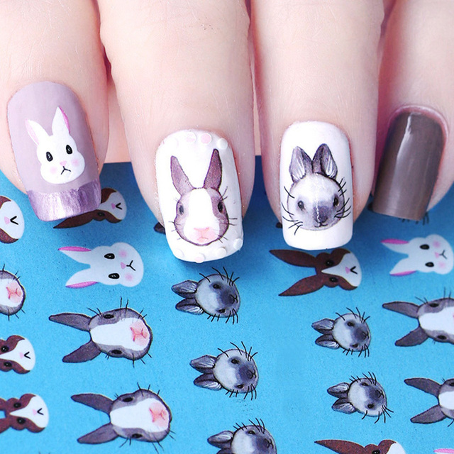 Rabbit Water Decal Cute Bunny Nail Art Transfer Sticker 12855cm