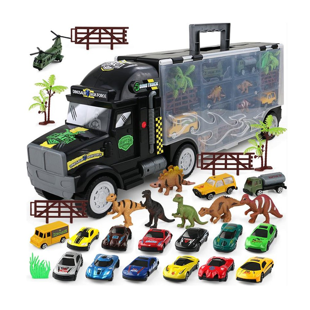 Nouveau mignon dessin animé animaux modèle Mini véhicule voiture jouet dinosaure et voiture jouet ensemble jouet éducatif pour enfants en bas âge simple/Double sid