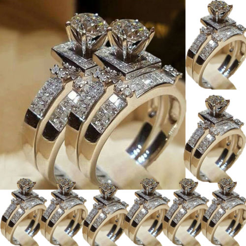 Adjustable White Sapphire 925 Silver Ring Women Wedding Engagement Jewelry #6-10
